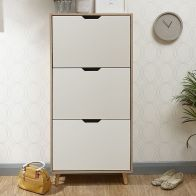 See more information about the Stockholm White & Oak Finish Three Tier Shoe Storage Cabinet