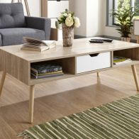 See more information about the Stockholm Coffee Table Brown 1 Shelf 1 Drawer