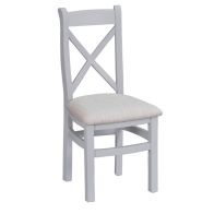 See more information about the Lighthouse Cross Back Dining Chair Grey & Oak With Fabric Seat