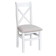 See more information about the Lighthouse Cross Back Dining Chair Oak & White With Fabric Seat