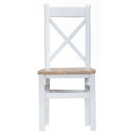 See more information about the Lighthouse Oak Top Cross Back Dining Chair White