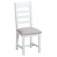 See more information about the Lighthouse Ladder Back Dining Chair Oak & White With Fabric Seat