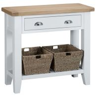 See more information about the Lighthouse Console Table Oak & White 1 Shelf 1 Drawer