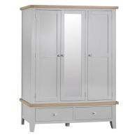 See more information about the Lighthouse Oak 3 Door 2 Drawer Large Wardrobe Grey
