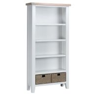 See more information about the Lighthouse Large Bookcase Oak & White 4 Shelf 2 Drawer