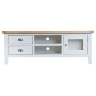 See more information about the Lighthouse Oak Top Large 2 Drawer 2 Shelf TV Unit - White