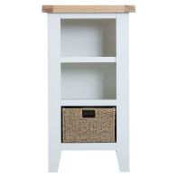 See more information about the Lighthouse Small Narrow Bookcase Oak & White 2 Shelf 1 Drawer