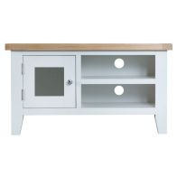 See more information about the Lighthouse Oak Top 1 Door 2 Shelf TV Unit - White