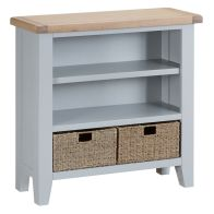 See more information about the Lighthouse Small Wide Bookcase Grey & Oak 3 Shelf 2 Drawer