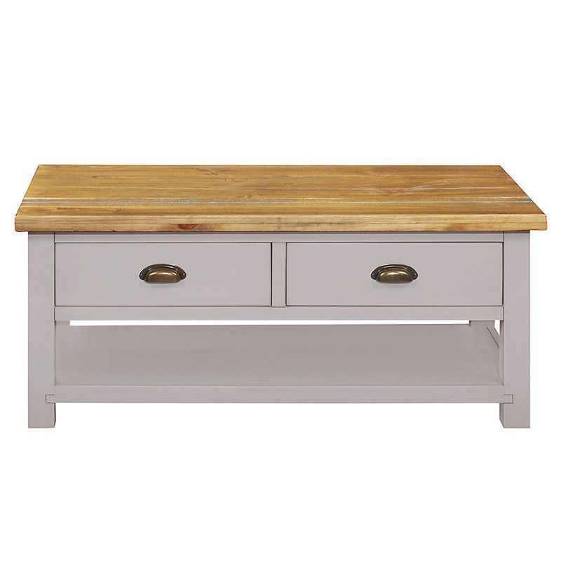 Buy Dovetale Oak 2 Drawer 1 Shelf Coffee Table Online At Cherry Lane