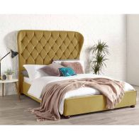 See more information about the Zurich Wing Back Velvet Gold 4ft 6in Double Bed Frame