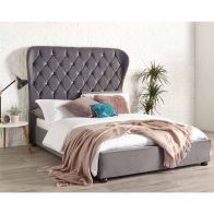 See more information about the Zurich Wing Back Velvet Grey 4ft 6in Double Bed Frame