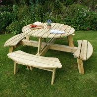 See more information about the Poppy Wooden Round Garden Picnic Table